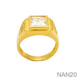 Nhẫn Nam Vàng Vàng 18K Đính Đá CZ - NAN20