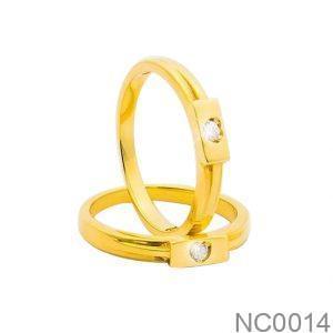 Nhẫn Cưới Vàng Vàng 18k Đính Đá CZ - NC0014