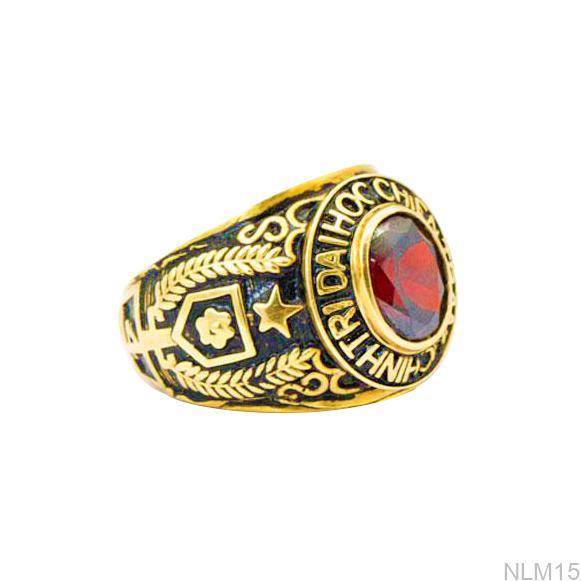 NLM15-1 nhẫn mỹ nam vàng 10k đá đỏ mệnh hỏa