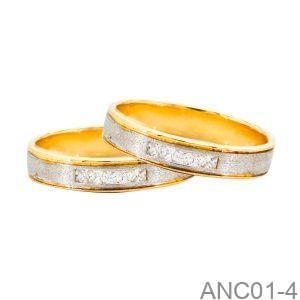 Nhẫn Cưới Hai Màu Vàng 18k Đính Đá Cz - ANC01-4