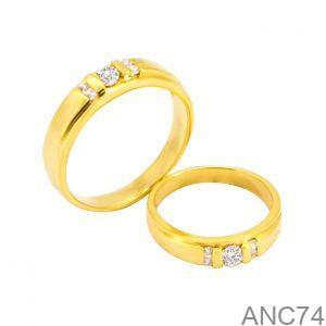 Nhẫn Cưới Vàng Vàng 18k Đính Đá CZ - ANC74