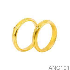 Nhẫn Cưới Vàng Vàng 18k Đính Đá CZ - ANC101