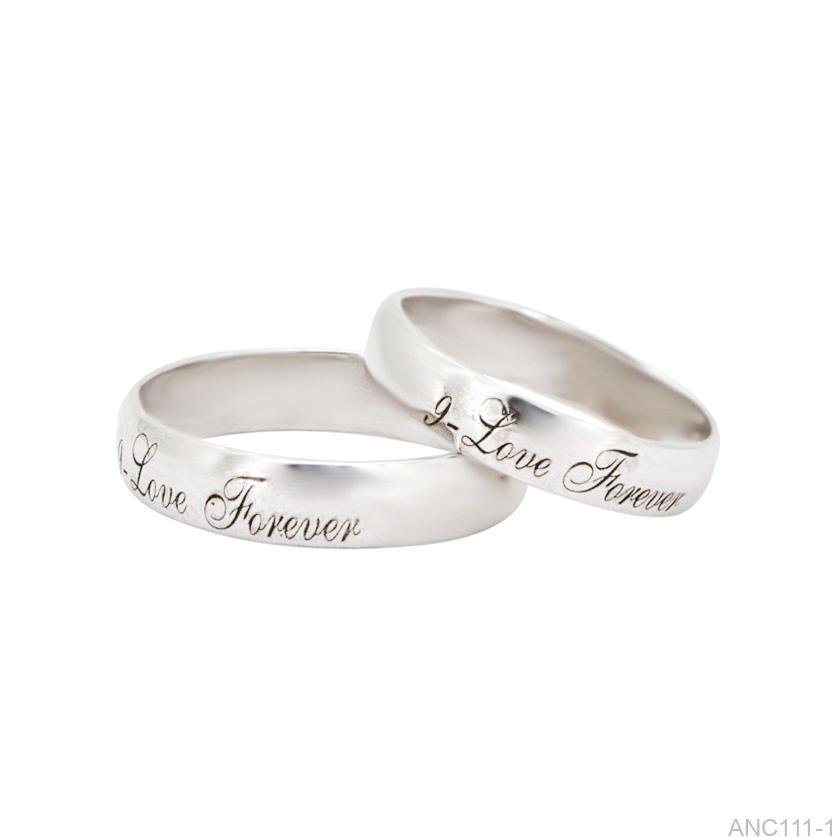 Nhẫn cưới vàng trắng khắc chữ APJ ANC111-1-1