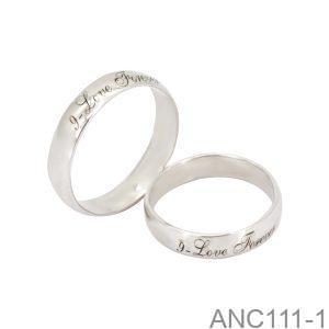 Nhẫn cưới vàng trắng khắc chữ APJ ANC111-1-2