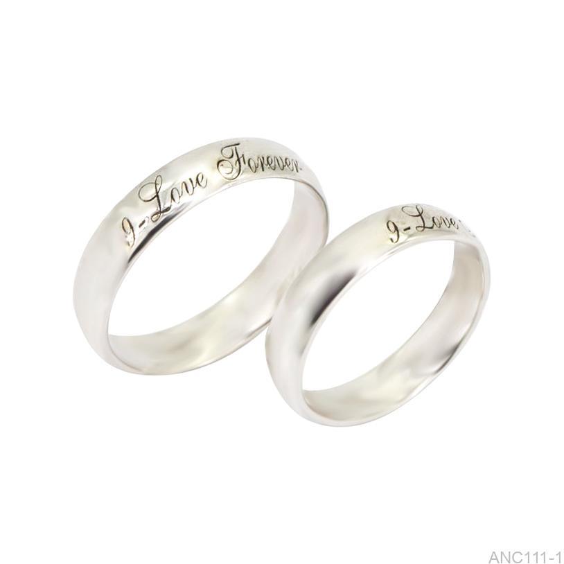 Nhẫn cưới vàng trắng khắc chữ APJ ANC111-1