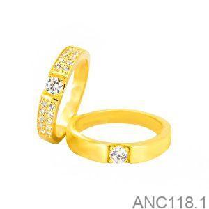 Nhẫn Cưới Vàng Vàng 18k Đính Đá CZ - ANC118-1
