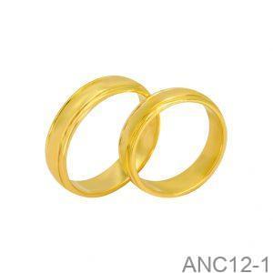 Nhẫn Cưới Vàng Vàng 14K Đính Đá CZ - ANC12-1