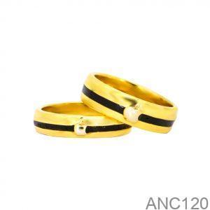 Nhẫn Cưới Vàng Vàng 14k Đính Đá CZ - ANC120