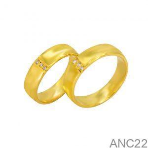 Nhẫn Cưới Vàng Vàng 18k Đính Đá CZ - ANC22