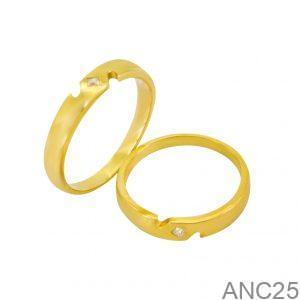 Nhẫn Cưới Vàng Vàng 18k Đính Đá CZ - ANC25