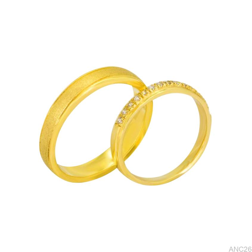 Nhẫn Cưới Vàng Vàng 18k Đính Đá CZ - ANC26