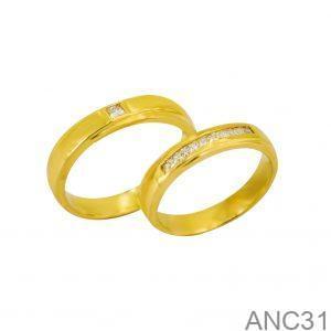 Nhẫn Cưới Vàng Vàng 18k Đính Đá CZ - ANC31