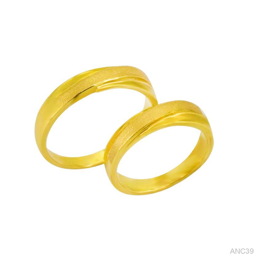 Nhẫn Cưới Vàng Vàng 18k Đính Đá CZ - ANC39