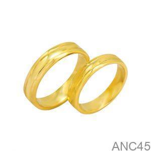 Nhẫn Cưới Vàng Vàng 18k Đính Đá CZ - ANC45