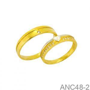 Nhẫn Cưới Hai Màu Vàng 18k Đính Đá CZ - ANC48-2