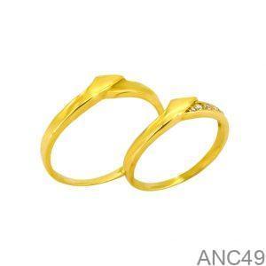 Nhẫn Cưới Vàng Vàng 18k Đính Đá CZ - ANC49