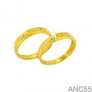 Nhẫn Cưới Vàng Vàng 18k Đính Đá CZ - ANC55