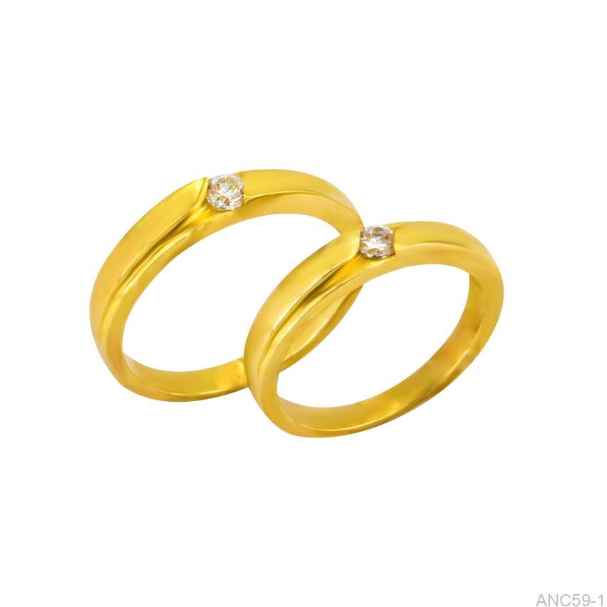 Nhẫn Cưới Vàng Vàng 18k Đính Đá CZ - ANC59-1