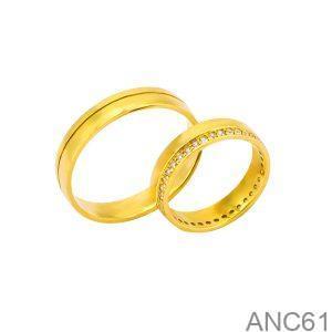 Nhẫn Cưới Vàng Vàng 18k Đính Đá CZ - ANC61