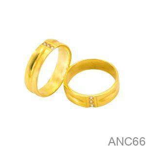 Nhẫn Cưới Vàng Vàng 18k Đính Đá CZ - ANC66