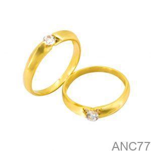 Nhẫn Cưới Vàng Vàng 18k Đính Đá CZ - ANC77