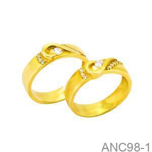 Nhẫn Cưới Vàng Vàng 14K Đính Đá CZ - ANC98-1