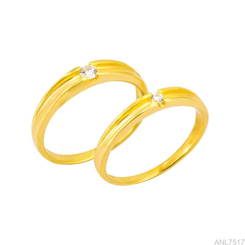 Nhẫn Cưới Vàng Vàng 18k Đính Đá CZ - ANL7517