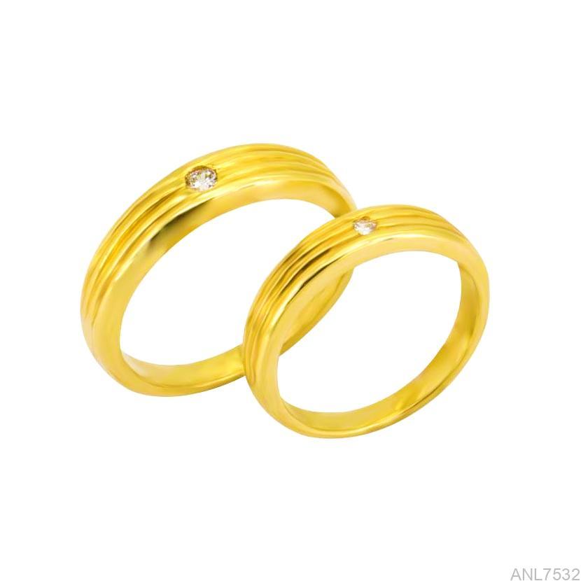 Nhẫn Cưới Vàng Vàng 18k Đính Đá CZ - ANL7532