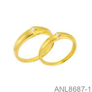 Nhẫn Cưới Vàng Vàng 18k Đính Đá CZ - ANL8687-1