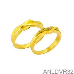 Nhẫn Cưới Vàng Vàng 18k Đính Đá CZ - ANLDVR32