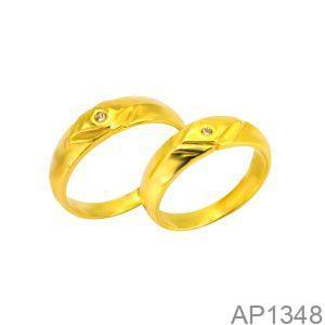 Nhẫn Cưới Vàng Vàng 18k Đính Đá CZ - AP1348