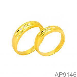 Nhẫn Cưới Vàng Vàng 18k Đính Đá CZ - AP9146