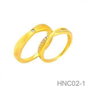 Nhẫn Cưới Vàng Vàng 18k Đính Đá CZ - HNC02-1