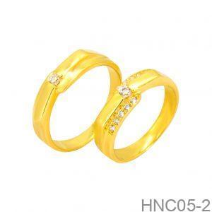 Nhẫn Cưới Vàng Vàng 18k Đính Đá CZ - HNC05-2