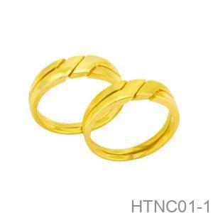 Nhẫn Cưới Vàng Vàng 10K Đính Đá CZ - HTNC01-1