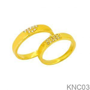 Nhẫn Cưới Vàng Vàng 18k Đính Đá CZ - KNC03