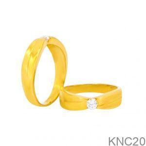 Nhẫn Cưới Vàng Vàng 18k Đính Đá CZ - KNC20
