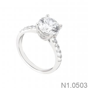 Nhẫn Nữ Vàng Trắng 10K Đính Đá CZ - N1.0503