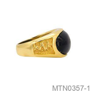 Nhẫn Nam Rồng Vàng Vàng 18K Đá Đen - MTN0357-1