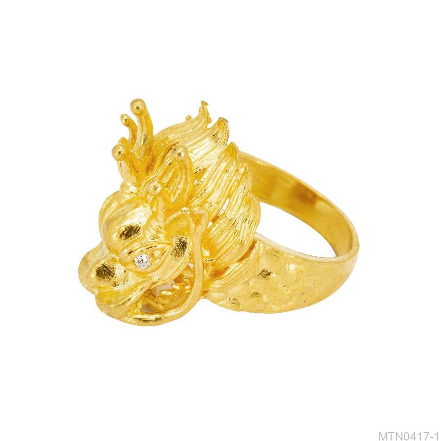 Nhẫn Nam Vàng Vàng 18K Đính Đá CZ - MTN0417-1