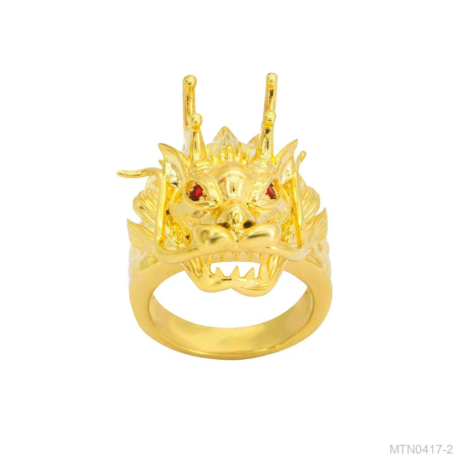 MTN0417-2 Nhẫn nam đầu rồng vàng 18k