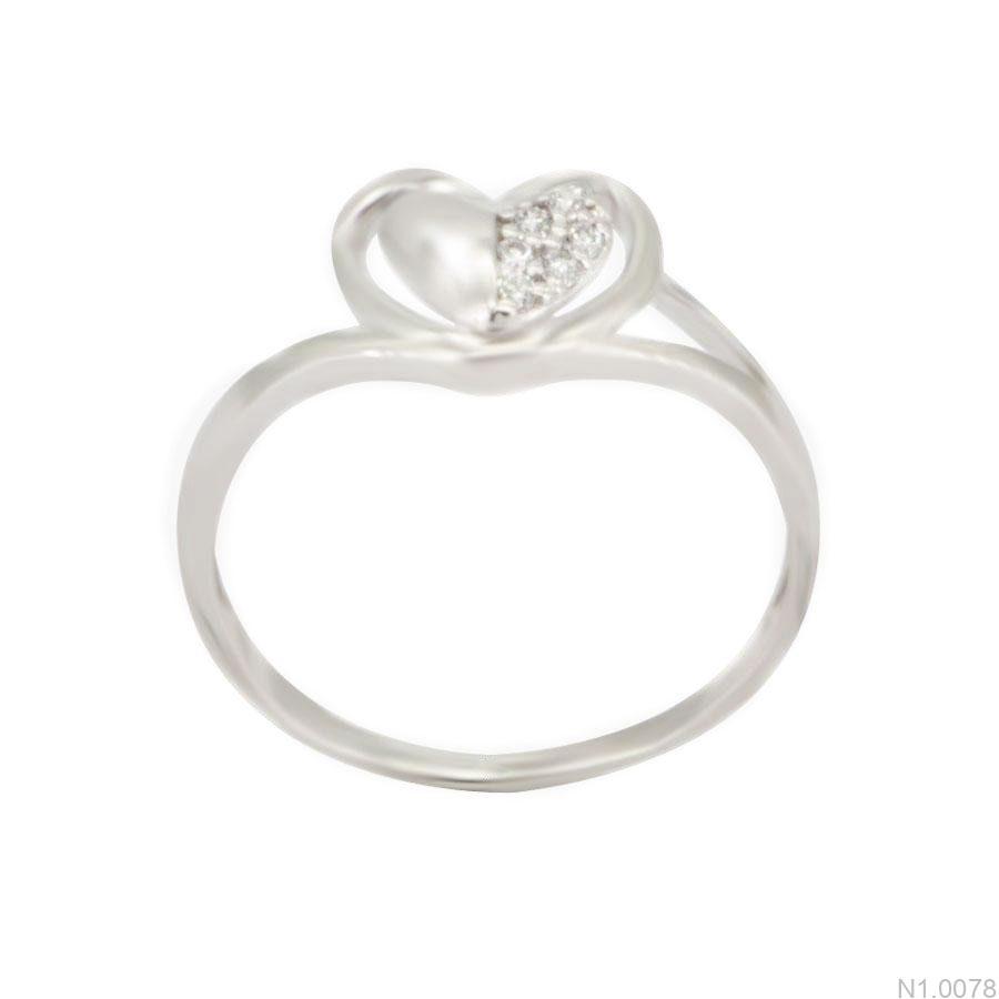 Nhẫn Nữ Vàng Trắng 10K Đính Đá CZ - N1.0078