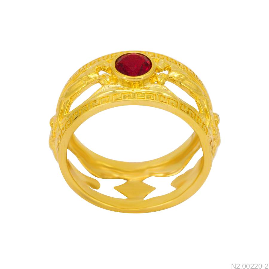 Nhẫn Nam Ngựa Vàng Hai Màu 18K Đá Đỏ - N2.0022-2