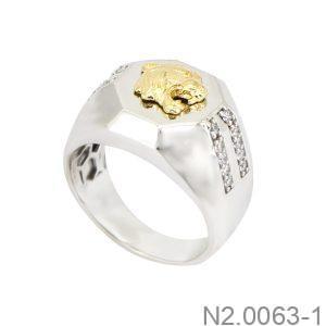 Nhẫn Nam Hai Màu Vàng 10k - N2.0063-1