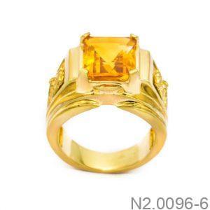 N2.0096 Nhẫn vàng nam 14k đẹp APJ đá CZ vàng