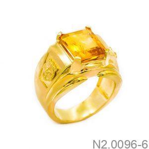 N2.0096-6-1 Nhẫn vàng nam 14k đẹp APJ đá CZ vàng