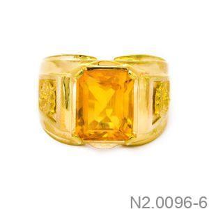 N2.0096-6-2 Nhẫn vàng nam 14k đẹp APJ đá CZ vàng