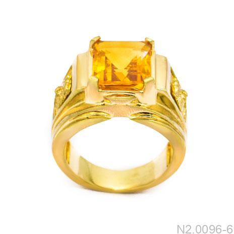 Nhẫn Nam Vàng Vàng 14K Đá Vàng - N2.0096-6