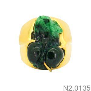 Nhẫn Nam Tỳ Hưu Vàng Vàng 10k Đá Xanh Lục - N2.0135