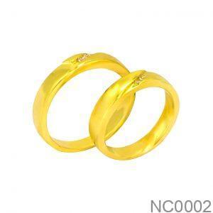 Nhẫn Cưới Vàng Vàng 18k Đính Đá CZ - NC0002